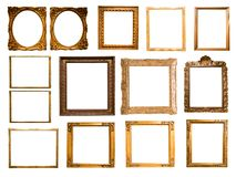 Group of retro golden rectangular frame for photography royalty free stock images