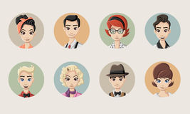 Group of retro people Royalty Free Stock Image