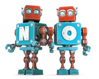 Group of Retro Robots with NO sign. Isolated. Cnotains clipping path Stock Photography