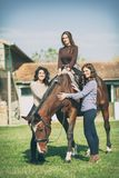 Group of rider woman with horse, recreation royalty free stock photos