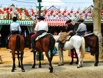 Group of riders at the Fair in Sevilla, Andalusia, Spain Stock Images