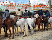 Group of riders at the Fair in Sevilla, Andalusia, Spain Stock Photography
