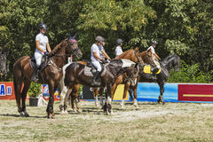 A group of riders. Pyatigorsk. Russia - September 05.09.2015 : Pyatigorsk. Forest Glade.Young men and girls in clothes of riders on horseback Stock Photo