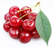 Group ripe cherries with a leaf. Royalty Free Stock Images
