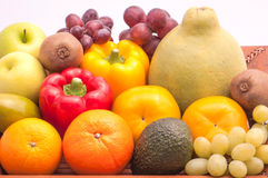 Group of ripe Fruits and vegetables isolated on white background Stock Photos