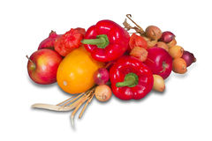 Group of ripe fruits and vegetables Stock Photos