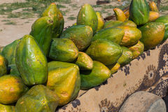 The group of ripe papaya for sell Stock Photo