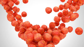 Group of Ripe Red apples falling Royalty Free Stock Photography