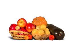 Group of ripe red, orange and black fruits Royalty Free Stock Images