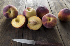 Group of ripe red peaches Royalty Free Stock Images