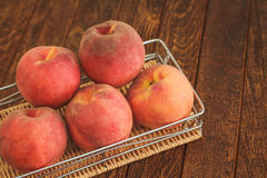 Group of ripe red peaches Stock Images