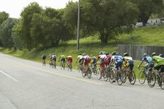 A group of road bicyclists. Traveling across highway 58 in CA Royalty Free Stock Photo