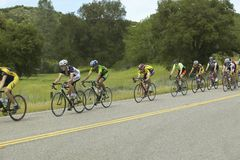 A group of road bicyclists traveling across highway 58 in CA Royalty Free Stock Image