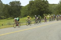 A group of road bicyclists traveling across highway 58 in CA Stock Image
