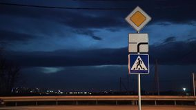 Group road sign. Main road. stock footage