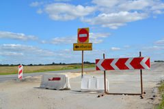 Group of road signs, barriers and road detour Royalty Free Stock Photography