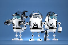 Group of robot mechanics. Technology concept. Contains clipping path Stock Photos