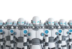 Group of robot on white, artificial intelligence. In futuristic technology concept, 3d illustration Stock Image