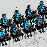 Group of Robots and personal computer Stock Photo