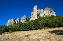 Group of rocks in Meteora Stock Images