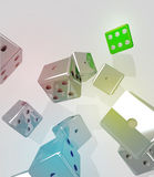 Group of rolling metallic dices Royalty Free Stock Image