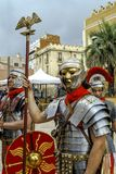 Group of Roman soldiers, in Badalona during their holidays Stock Photos