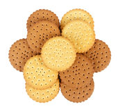 Group of round biscuits Royalty Free Stock Images
