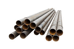 Group of round metal pipe. Isolated on white background Royalty Free Stock Photo