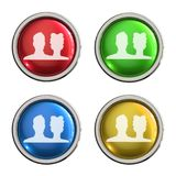 Group glass button. Group round shiny 4 color web icons with metal frame,3d rendered isolated on white background Stock Photos