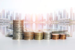 Group of a row of stack money coins Royalty Free Stock Photography