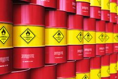 Group of rows of red stacked oil drums in storage warehouse. Creative abstract oil and gas industry manufacturing and trading business concept: 3D render stock illustration