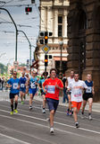 Group of runners around 15th km of PIM. Group of runners on 15th km of Prague International Marathon 2012 Stock Photography