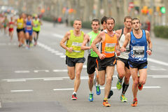 Group of runners in Barcelona Half Marathon Royalty Free Stock Photo
