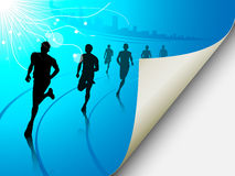 Group of runners on a blue cityscape background. A set of six runners or marathon runners, running on a track on an abstract city or cityscape background with a Royalty Free Stock Photos