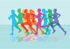 A group of runners. At the finish royalty free illustration