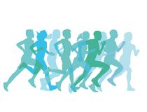 Group of runners. An illustration of the silhouettes of a group or runners stock illustration