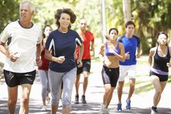 Group Of Runners Jogging Through Park Stock Images