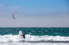 Group of runners at kitesurfing competition sport in Cascais, Portugal, Europe stock photos
