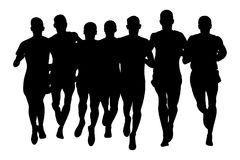 Group runners men. Running black silhouette of front view Stock Image