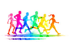 Group Of Runners. Men and women running to keep fit. Vector illustration vector illustration
