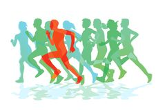 A group of runners while running. Illustration Stock Images