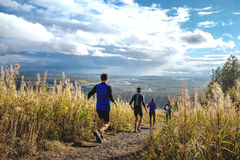 Group of runners running mountain trail Stock Images
