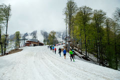 Group runners running one after another snow mountain trail Stock Photography