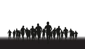 Group of runners. A silhouette of a group of runners Royalty Free Stock Photo