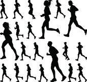 Group of runners silhouette vector stock image