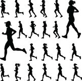 Group of runners silhouette vector. Group of runners silhouette run vector Stock Image