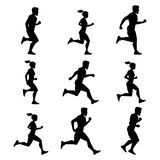 Group of runners. Silhouettes of male and female. Vector illustrations of fitness activities. Sport body silhouette man and woman run marathon Stock Photo