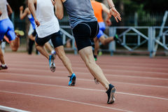 Group of runners sprinters men. Run 200 meters at competition Royalty Free Stock Photography