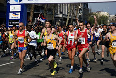 A group of runners in start Stock Image