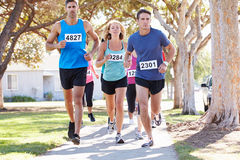 Group Of Runners On Suburban Street Royalty Free Stock Photo